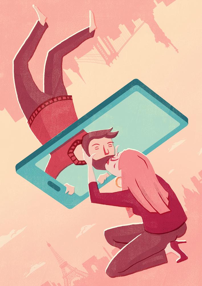 Editorial Illustration Fernbeziehung Liebe