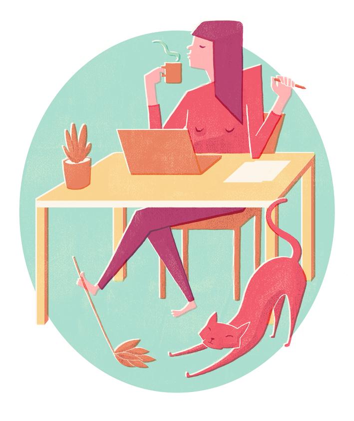 Editorial Illustration Katze Arbeiten Entspannen